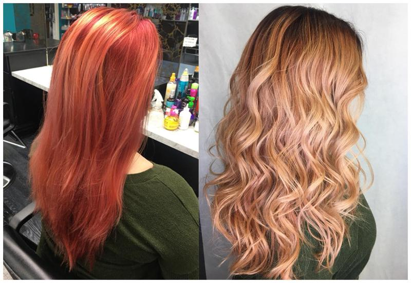 Before and After by Alicia- beautiful rosy gold blonde.